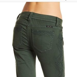 Miss Me Green Embroidered Skinny Jeans